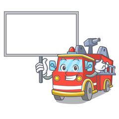 Bring board fire truck character cartoon