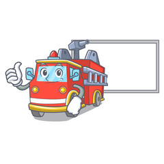 Thumbs up with board fire truck character cartoon