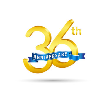 36th golden Anniversary logo with blue ribbon isolated on white   background. 3d gold 36th Anniversary logo