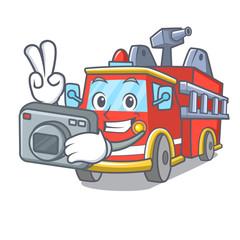 Photographer fire truck mascot cartoon