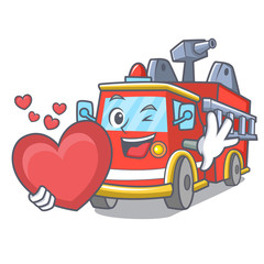 With heart fire truck mascot cartoon