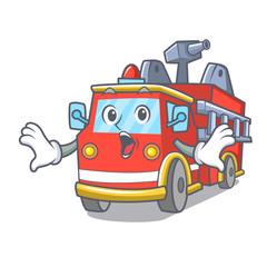Surprised fire truck mascot cartoon