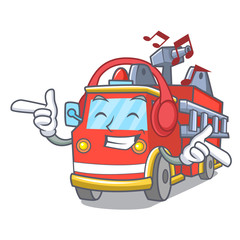 Listening music fire truck mascot cartoon