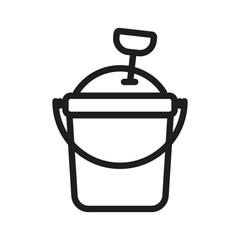 Sand bucket for kids icon. Vector thin line illustration for playgrounds and beach children leisure time