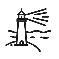 Lighthouse on a beach with waves in the sea icon. Vector minimal thin line geometric illustration