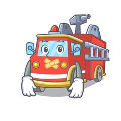 Silent fire truck mascot cartoon