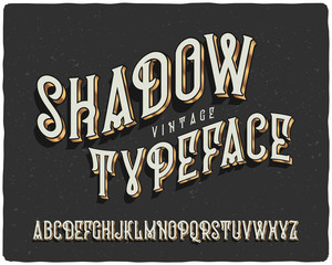 Vector vintage font with gradient extruded effect