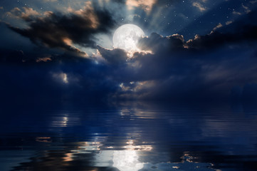 Wall Mural - Night sky with moon in the clouds