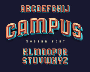 """Modern extruded font named """"Campus"""""""