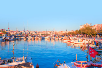Printed kitchen splashbacks Turkey View of boats and beautiful architecture at sunset in Canakkale, Turkey.