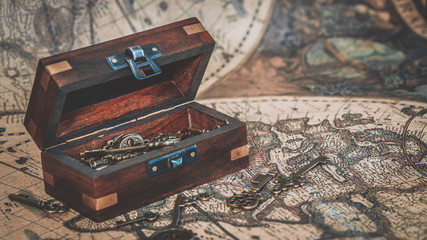 Vintage Keys In Treasure Chest On Ancient World Map