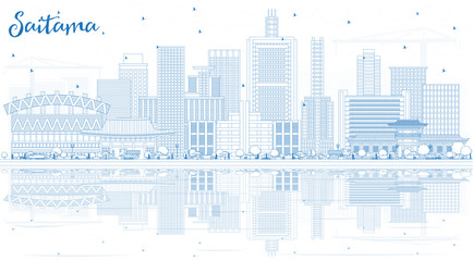 Outline Saitama Japan City Skyline with Blue Buildings and Reflections.