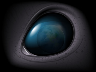 Alien eye. Realistic 3D image