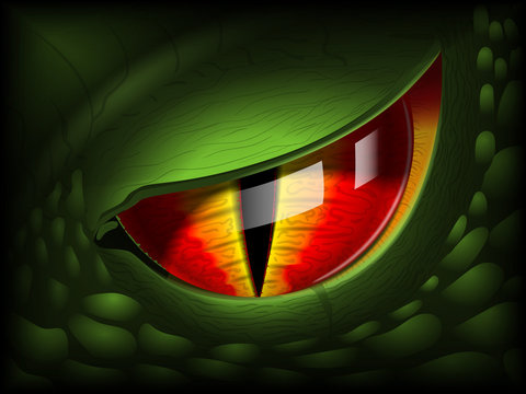 Dragon eye. Realistic 3D image