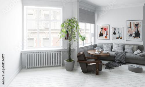 Gestaltung Wohnzimmer   Wohnzimmer Mit Einrichtung Gestaltung Stock Photo And Royalty