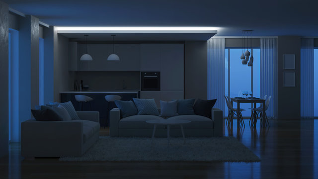 Modern house interior. Evening lighting. Night. 3D rendering.