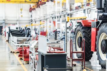 Assembly workshop interior at big industrial plant