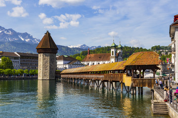 Chapel bridge famous place on lake Luzern with blue sky in Luzern, Switzerland, Europe.