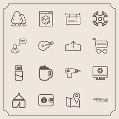 Modern, simple vector icon set with cable, nature, money, cafe, coffee, banner, road, plug, finance, purse, technology, landscape, shipping, cash, machine, setting, travel, computer, online, usb icons