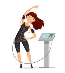 Ems training. Girl doing fitness exercise in the gym. Cartoon vector illustration