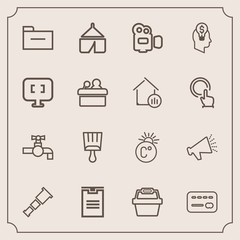 Modern, simple vector icon set with telescope, folder, travel, balance, water, store, tap, money, night, paint, fahrenheit, loud, temperature, package, white, box, camp, handle, thermometer, sky icons
