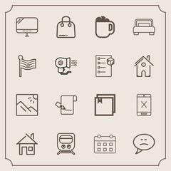 Modern, simple vector icon set with railway, photo, internet, paper, sale, transportation, chat, buy, schedule, drink, train, scenery, landscape, building, retail, web, transport, file, speech icons