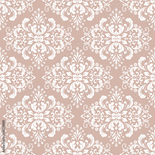 Wallpaper In The Style Of Baroque A Seamless Vector Background White And Pink Floral