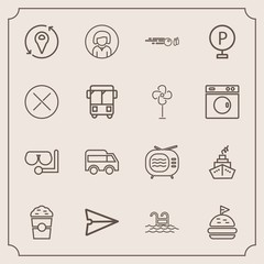 Modern, simple vector icon set with communication, coffee, cafe, cup, hit, food, summer, drink, mask, sandwich, internet, message, glass, face, girl, direction, lunch, location, tomato, video,  icons