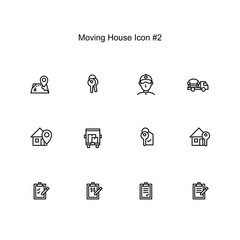 moving house and relocation icon set design. simple clean monoline illustration.