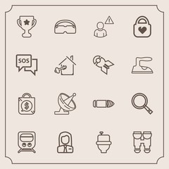 Modern, simple vector icon set with winner, business, view, optical, railway, equipment, wc, weapon, first, communication, military, search, tag, glasses, award, satellite, gun, employer, train icons