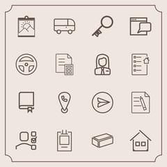 Modern, simple vector icon set with library, office, transportation, mobile, map, security, picture, website, house, bus, book, key, speed, internet, education, architecture, task, communication icons