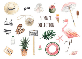 Summer beach set. Hat, sunglasses, ice cream, cocktail, flamingo, magazine, swimsuit, seashells, starfish. Watercolor illustration on white isolated background