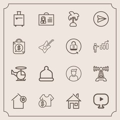Modern, simple vector icon set with radio, transportation, price, luggage, person, house, internet, sale, home, media, woman, architecture, nature, email, profile, transport, sign, fashion, trip icons
