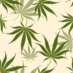 Seamless pattern Marijuana leaf on Pale yellow color background.printing wallpaper.vector illustration