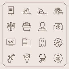 Modern, simple vector icon set with lock, fear, cloud, sale, people, medicine, vase, ghost, meeting, blank, medical, folder, decoration, unlock, ocean, security, internet, nature, paper, water icons