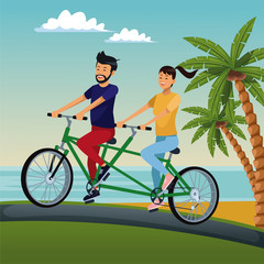 Couple riding a double bike at beach cartoon vector illustration graphic design
