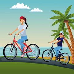 Cute couple riding bikes at beach vector illustration graphic design