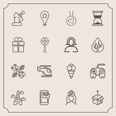 Modern, simple vector icon set with pin, location, love, care, cream, necklace, earth, time, dessert, paris, space, map, fashion, cardboard, air, sky, helicopter, arrow, tower, eiffel, satellite icons