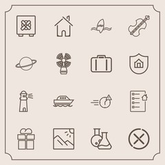 Modern, simple vector icon set with landscape, package, surf, medicine, safety, cancel, sea, lock, man, present, late, sign, business, giftbox, gift, real, violoncello, estate, stop, box, office icons