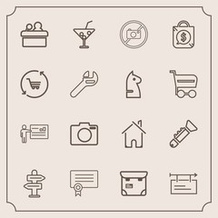 Modern, simple vector icon set with drink, juice, forbidden, template, pretty, businessman, meeting, estate, certificate, blank, tag, equipment, phone, public, jazz, photo, speaker, person, lens icons