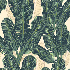 Seamless pattern banana leaf tropical leaves on Pale yellow color background.printing wallpaper.vector illustration