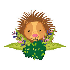 lion head animal with bush flowers plants