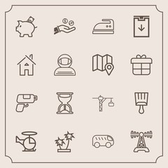 Modern, simple vector icon set with sand, left, air, ironing, gun, construction, money, transportation, palm, game, finance, time, domestic, hand, investment, iron, helicopter, saw, move, pistol icons