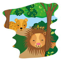 adorable lion and leopard animals in the forest