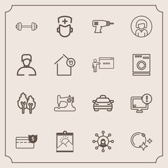 Modern, simple vector icon set with technology, cash, warning, monitor, craft, medicine, nature, picture, fashion, taxi, landscape, exercise, medical, star, coin, internet, business, surgeon icons