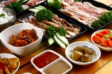 Fresh ingredients of a Korean dish