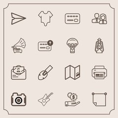 Modern, simple vector icon set with web, money, fashion, note, sign, business, equipment, map, world, internet, balance, post, card, camera, cute, printer, communication, model, paper, music icons