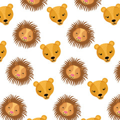 adorable female and male lion heads background