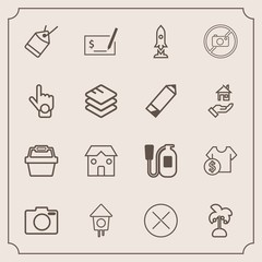 Modern, simple vector icon set with basket, rocket, palm, index, store, fire, business, shop, nature, hand, tropical, tag, sale, close, paper, craft, white, building, cost, spaceship, wooden icons