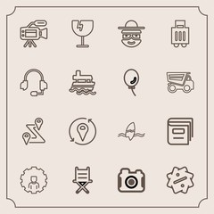 Modern, simple vector icon set with microphone, library, technology, tripod, map, window, tropical, shattered, education, glass, photographer, sale, navigation, road, destruction, web, label icons